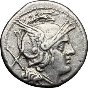 obverse: Anonymous. AR Denarius, Sicily mint, 211-208 BC