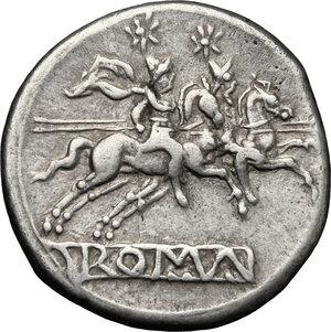 reverse: Anonymous. AR Denarius, Sicily mint, 211-208 BC