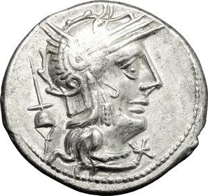 obverse: L. Postumius Albinus.. AR Denarius, 131 BC