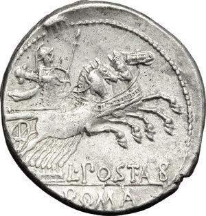 reverse: L. Postumius Albinus.. AR Denarius, 131 BC
