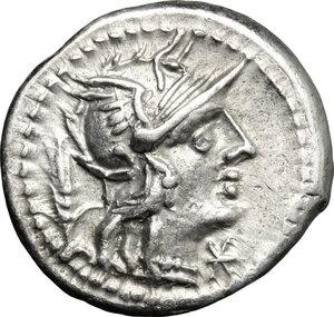 obverse: Cn. Domitius.. AR Denarius, 128 BC