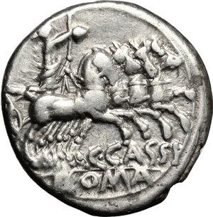 reverse: C. Cassius.. AR Denarius, 126 BC