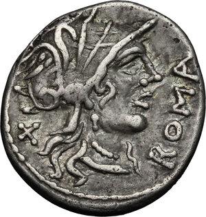 obverse: Cn. Domitius Ahenobarbus.. AR Denarius, 116-115 BC