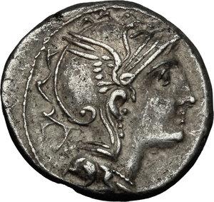 obverse: Appius Claudius Pulcher, T Manlius Mancinus and Q. Urbinius . AR Denarius, 111-110 BC