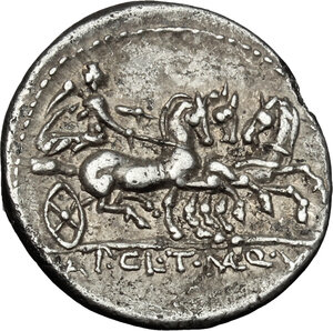 reverse: Appius Claudius Pulcher, T Manlius Mancinus and Q. Urbinius . AR Denarius, 111-110 BC