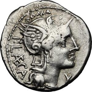 obverse: P. Laeca. AR Denarius, circa 110-109 BC