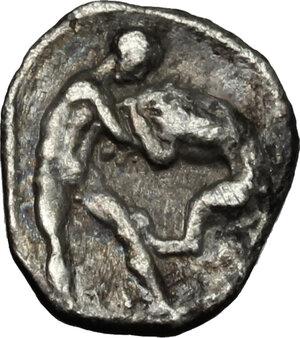 reverse: Southern Apulia, Tarentum. AR Diobol, circa 380-325 BC