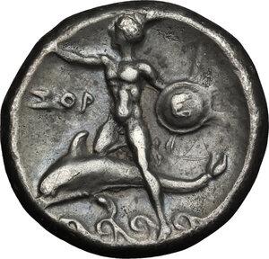 reverse: Southern Apulia, Tarentum. AR Nomos, circa 280 BC
