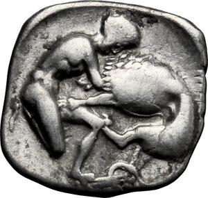 reverse: Southern Apulia, Tarentum. AR Diobol, c. 340 BC
