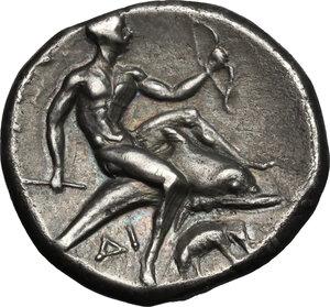 reverse: Southern Apulia, Tarentum. AR Nomos, circa 280-272 BC. Time of Pyrrhos of Epiros. Aristipp-, Gu-, and Di, magistrates