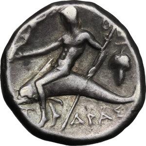 reverse: Southern Apulia, Tarentum. AR Nomos, 272-240 BC