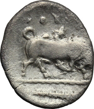 reverse: Southern Lucania, Thurium. AR Triobol, c. 443-400 BC