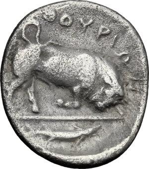 reverse: Southern Lucania, Thurium. AR Triobol, c. 400-350 BC