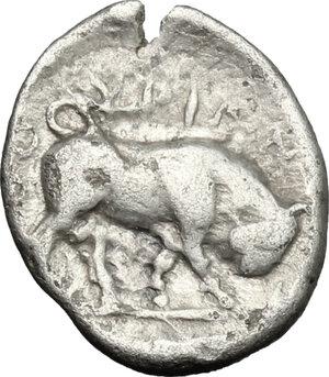 reverse: Southern Lucania, Thurium. AR Triobol, c. 350-300 BC