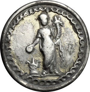 obverse: Silver (gilded) Phalera with image of Concordia standing facing, holding patera over altar and cornucopiae.  Roman period, 1st-3rd century.  18 mm
