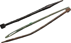 obverse: Lot of 2 bronze stili (125 and 111 mm) and 1 bronze needle (116 mm).  Roman period, 3rd-5th century
