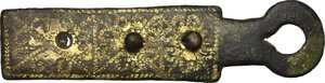 obverse: Gilt bronze clasp from a breviary.  Medieval, 10th-13th century AD.  6.7 cm x 1.7 cm