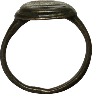 reverse: Bronze ring, the bezel decorated with lines.  Middle ages.  Size 16.7 mm