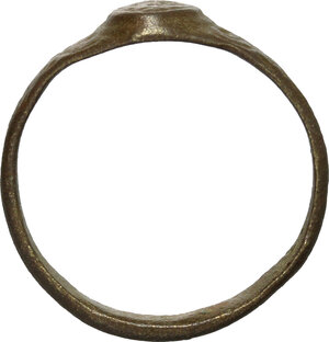 reverse: Bronze ring, the bezel richly decorated   Middle ages.  Size 19.5 mm