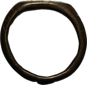 reverse: Bronze ring, the bezel decorated with two crosses.  Middle ages.  Size 15.5 mm