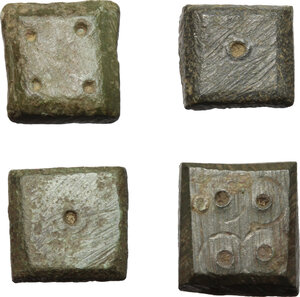 obverse: Lot of 4 AE coin weights.  Late Antiquity, 5th-7th century