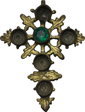 obverse: Gilt Cross pendant with green glass inlaid.  Late Medieval.  5.2 cm x 5.9 cm