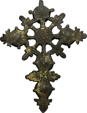 reverse: Gilt Cross pendant with green glass inlaid.  Late Medieval.  5.2 cm x 5.9 cm