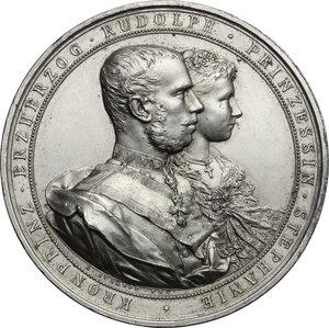 obverse: Austria.  Erzherzog Rudolf (1858-1889) and Princess Stephanie (1864-1945).. AE Medal (silvered?), 1881