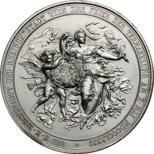 reverse: Austria.  Erzherzog Rudolf (1858-1889) and Princess Stephanie (1864-1945).. AE Medal (silvered?), 1881