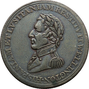 obverse: Great Britain.  Arthur Wellesley, 1st Duke of Wellington (1769-1852).. AE Medal 1812