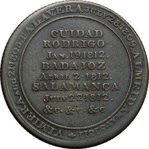 reverse: Great Britain.  Arthur Wellesley, 1st Duke of Wellington (1769-1852).. AE Medal 1812