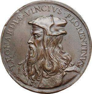 obverse: Italy..  Leonardo da Vinci (1452-1519).. AE Medal, 1669