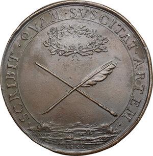 reverse: Italy..  Leonardo da Vinci (1452-1519).. AE Medal, 1669