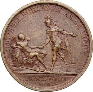 reverse: Netherlands.  Wilhelm IV Prince of Orange Nessau (1711-1751).. AE Medal, 1747