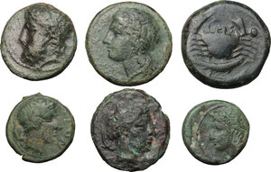 obverse: Sicily. Lot of 6 unclassified AE Denominations, 4th-3rd century BC,  including: Akragas, Leontini, Syracuse