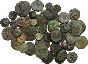 obverse: Greek and Roman world. . Multiple lot of  more than 50 AE coins, including AR Denarius