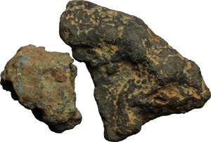 obverse: Roman Republic.. Lot of two fragments of bronze ingots (aes formatum), Central Italy, 8th-4th century BC