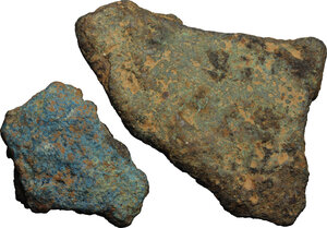 reverse: Roman Republic.. Lot of two fragments of bronze ingots (aes formatum), Central Italy, 8th-4th century BC