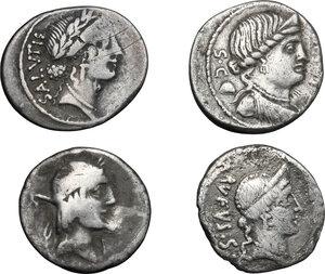 obverse: Roman Republic. Lot of 4 unclassified AR Denarii