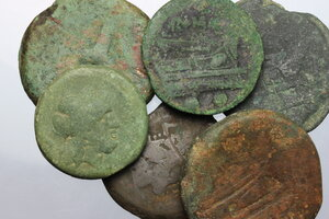 obverse: Roman Republic.. Multiple lot of 5 unclassified AE coins