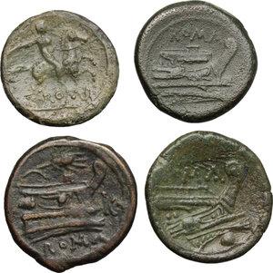 reverse: Roman Republic. Lot of 4 unclassified AE Denominations