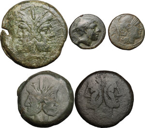 obverse: Roman Republic. Lot of 5 unclassified AE Denominations, including: As, Sextans and Uncia