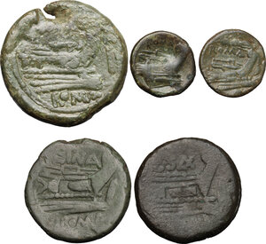 reverse: Roman Republic. Lot of 5 unclassified AE Denominations, including: As, Sextans and Uncia