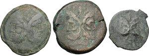 obverse: Roman Republic. Lot of 3 unclassified AE Asses
