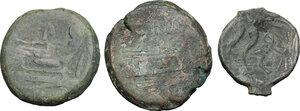 reverse: Roman Republic. Lot of 3 unclassified AE Asses
