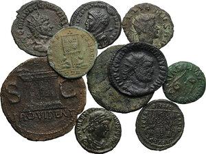 obverse: Roman Republic and Roman Empire.. Lot of 10 unclassified AE Denominations, including: Augustus, Gallienus, Valentinian, Quintillus, Diocletian, Crispus, Constantine