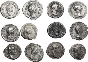 obverse: The Roman Empire. Lot of 12 unclassified AR Denarii, including a hybrid forgery of Plautilla. Sold as is, no returns