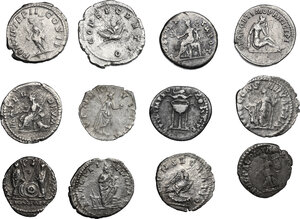 reverse: The Roman Empire. Lot of 12 unclassified AR Denarii, including a hybrid forgery of Plautilla. Sold as is, no returns