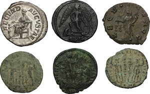 reverse: The Roman Empire. Lot of 6 unclassified coins