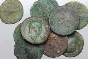obverse: Roman Empire.. Multiple lot of nine (9) unclassified AE Asses, including: Tiberius, Germanicus, Galba, Hadrian, Antoninus Pius, Faustina and  Marcus Aurelius